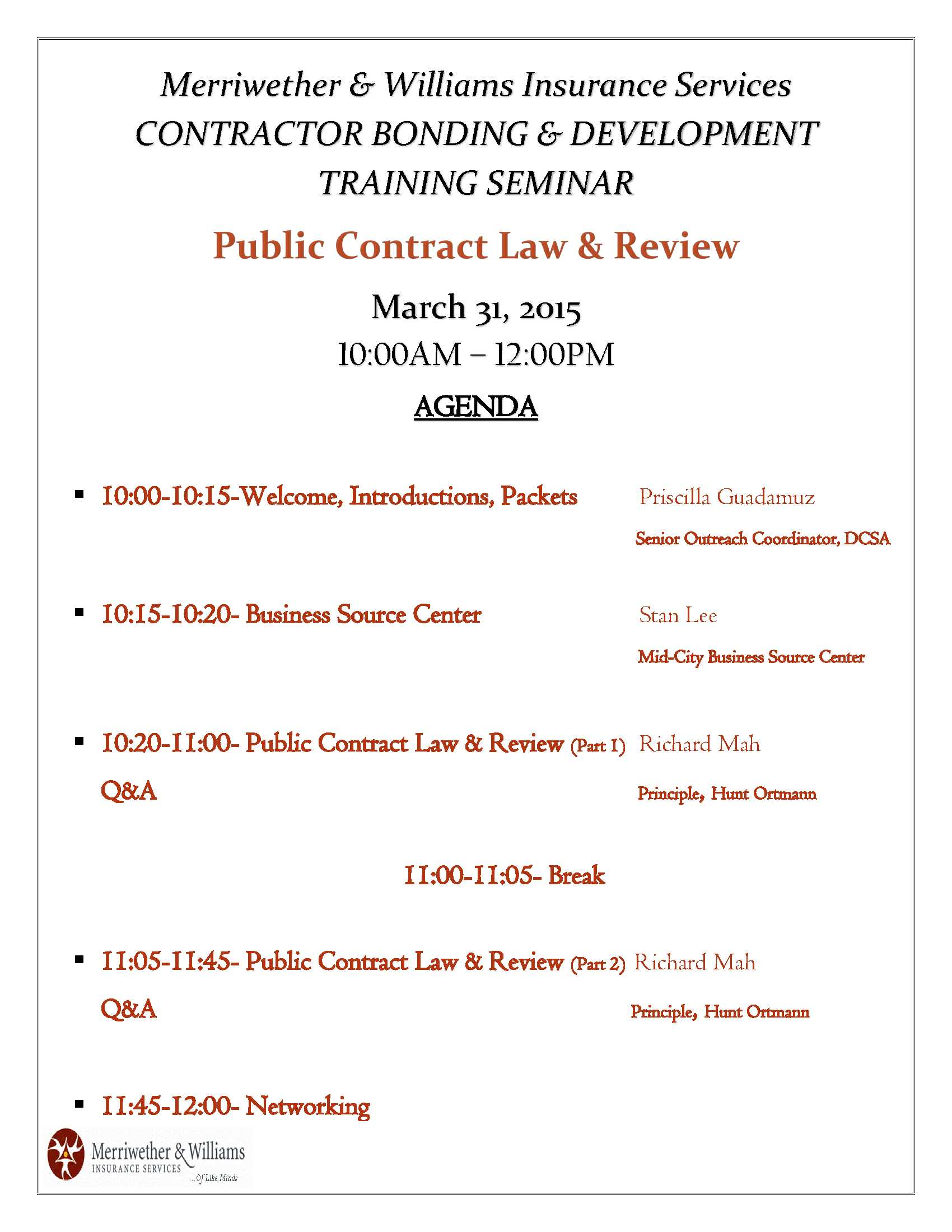 Public Contract Law Review Training Agenda