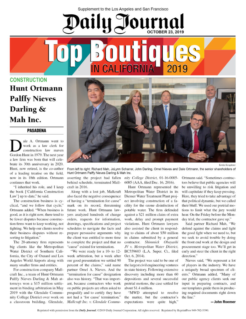 Hunt Ortmann Recognized as a Top Boutique Law Firm by the Daily Journal